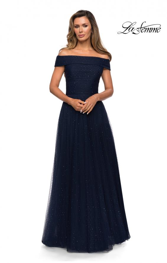 Picture of: Tulle Off the Shoudler A-line Dress with Rhinestones in Navy, Style: 28051, Main Picture