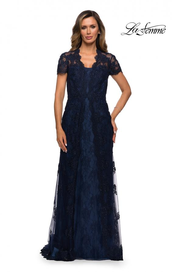 Picture of: Long Lace Evening Dress with Scallop Detailing and Rhinestones in Navy, Style: 28195, Main Picture