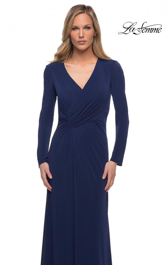 Picture of: Long Sleeve Jersey Dress with Criss-Criss Front Ruching in Navy, Main Picture