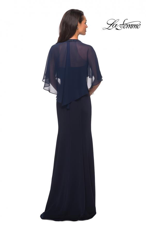 Picture of: Long Gown with sheer sleeves and beaded neckline in Navy, Style: 25006, Back Picture