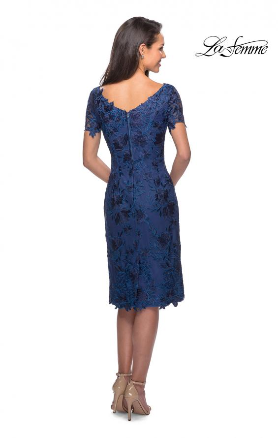 Picture of: Short Sleeve Knee Length Lace Dress with V-Neck in Navy, Style: 25522, Back Picture