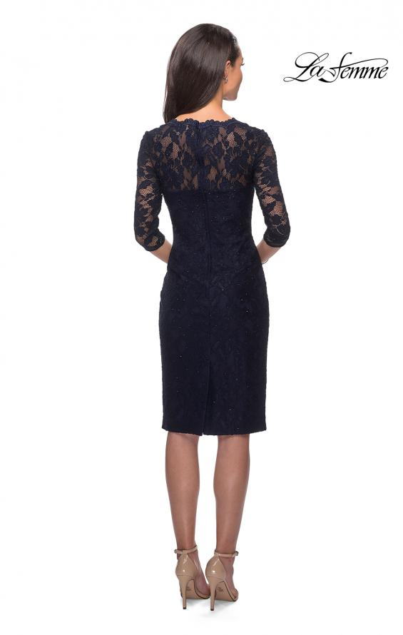 Picture of: Knee Length Lace Dress with Rinestone Detailing, Style: 25527, Back Picture