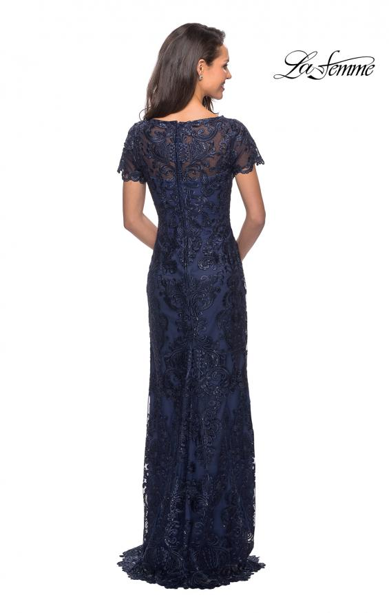 Picture of: Long Lace Dress with Rhinestones and Short Sleeves in Navy, Style: 26405, Back Picture