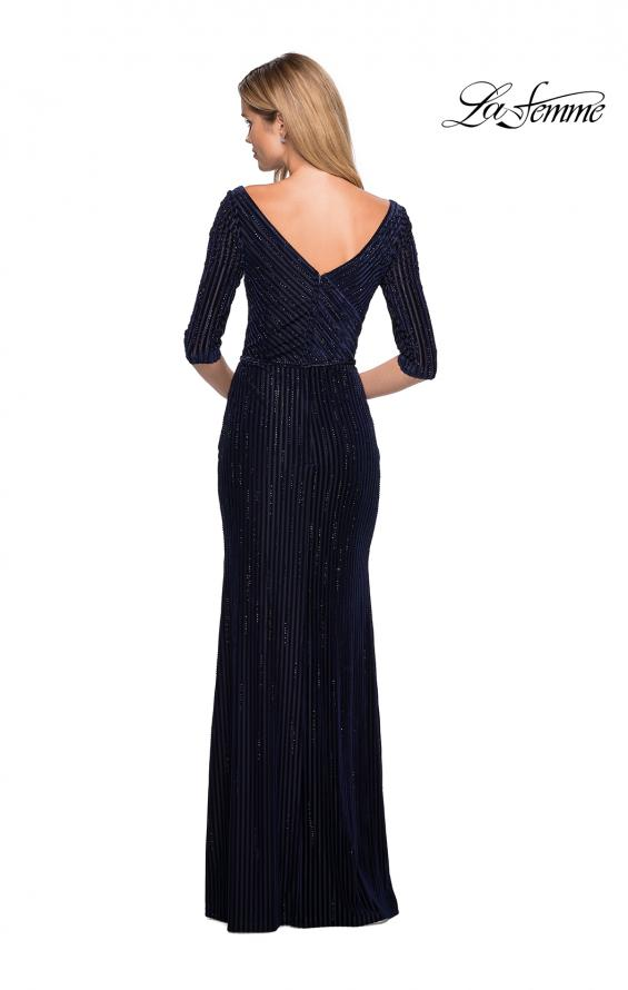 Picture of: Long Velvet Beaded Dress with Three Quarter Sleeves in Navy, Style: 26456, Back Picture