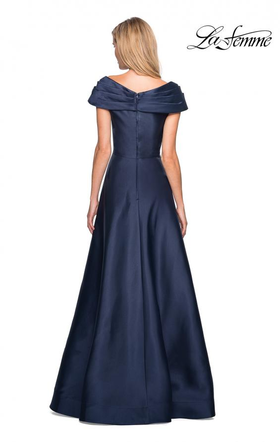 Picture of: Long A-Line Off the Shoulder Gown with Pockets in Navy, Style: 26877, Back Picture