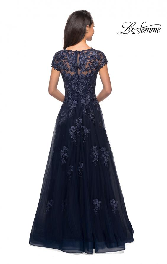 Picture of: Long Tulle Gown with Intricate Lace Detailing, Style: 26907, Back Picture