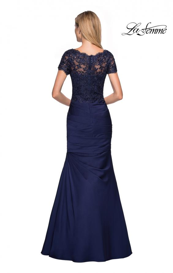 Picture of: Floor Length Satin Dress with Lace Rhinestoned Bodice, Style: 26979, Back Picture