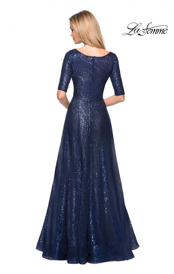 Picture of: Fully Sequined Floor Length Gown with Pockets in Navy, Style: 27016, Back Picture