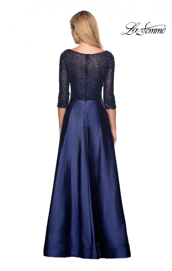 Picture of: Long Mikado Gown with Beaded Top and Pockets in Navy, Style: 27077, Back Picture