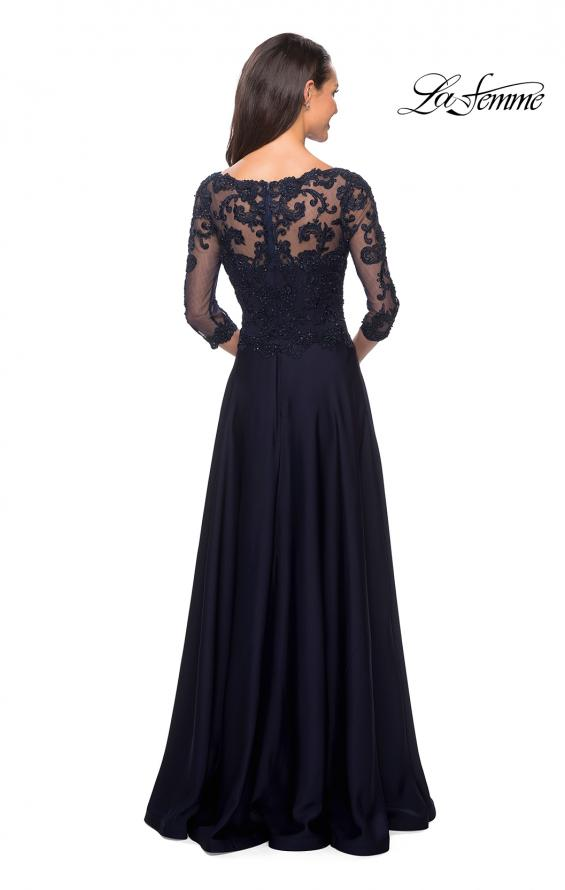 Picture of: Floor Length Satin Dress wirh Lace Detail and Pockets, Style: 27235, Back Picture