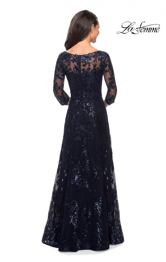 Picture of: Long Lace Dress wuth Sequins and Sheer 3/4 Sleeves, Style: 27885, Back Picture