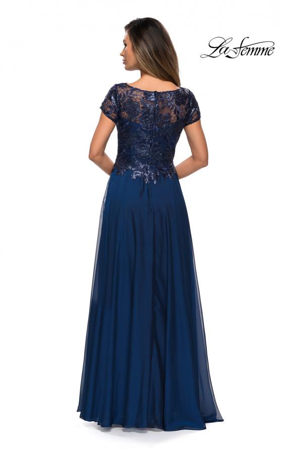 Picture of: Short Sleeve Metallic Lace Evening Dress with Chiffon Skirt in Navy, Style: 27924, Back Picture