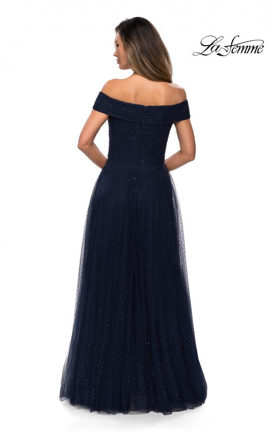 Picture of: Tulle Off the Shoudler A-line Dress with Rhinestones in Navy, Style: 28051, Back Picture