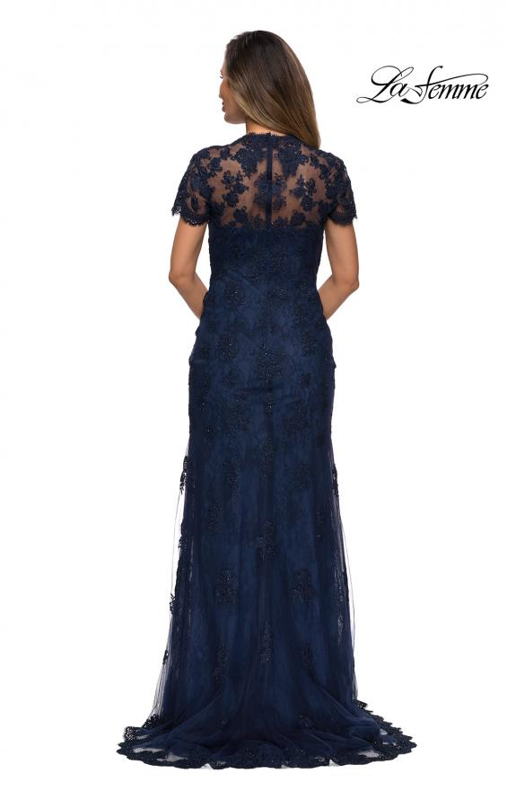 Picture of: Long Lace Evening Dress with Scallop Detailing and Rhinestones in Navy, Style: 28195, Back Picture