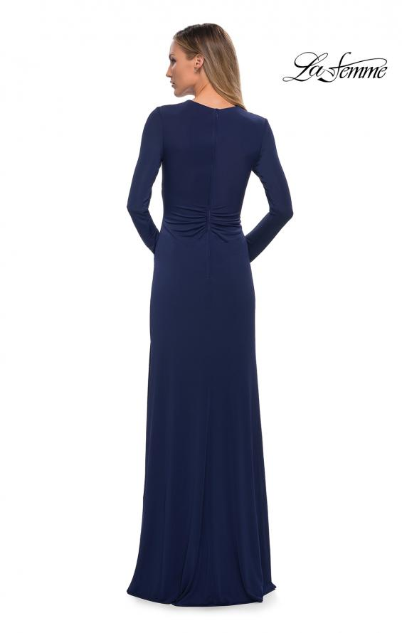 Picture of: Long Sleeve Jersey Dress with Criss-Criss Front Ruching in Navy, Back Picture