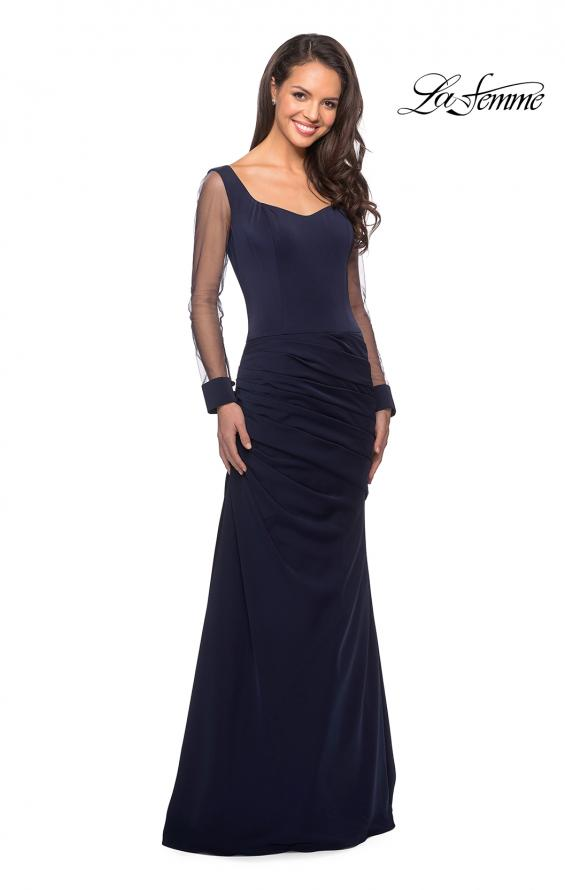 Picture of: Long Jersey Gown with Sheer Long Sleeves and Ruching in Navy, Style: 25064, Detail Picture 1
