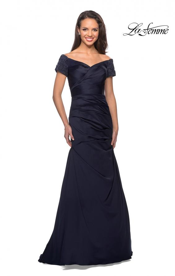 Picture of: Satin Off the Shoulder Dress with Beaded Sleeves in Navy, Style: 25996, Detail Picture 1