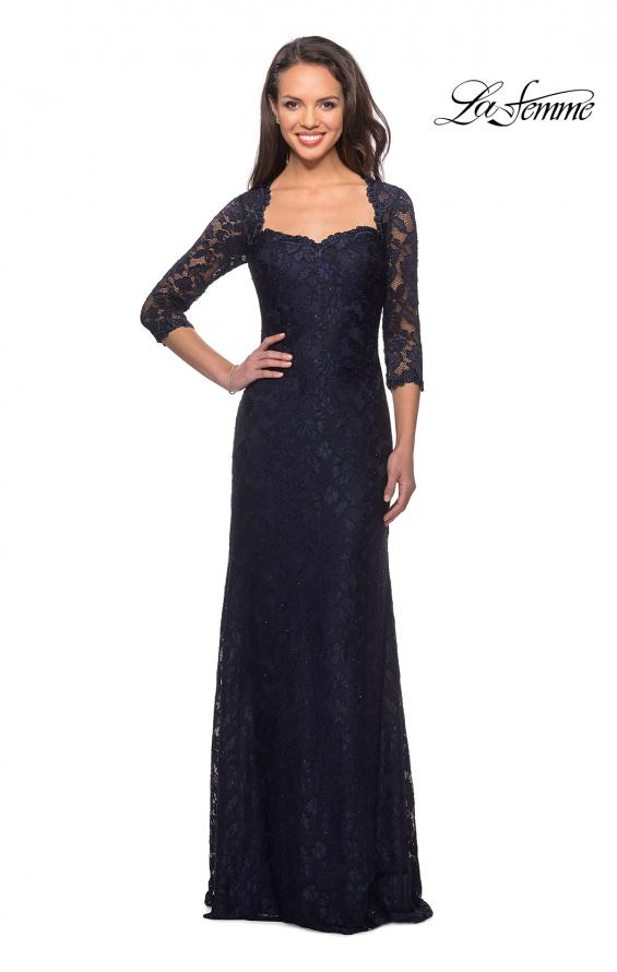 Picture of: Long Lace Gown with Sweetheart Neckline in Navy, Style: 26427, Detail Picture 1