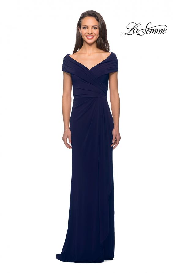 Picture of: Ruched Jersey Long Gown with V-Neckline, Style: 26519, Detail Picture 1