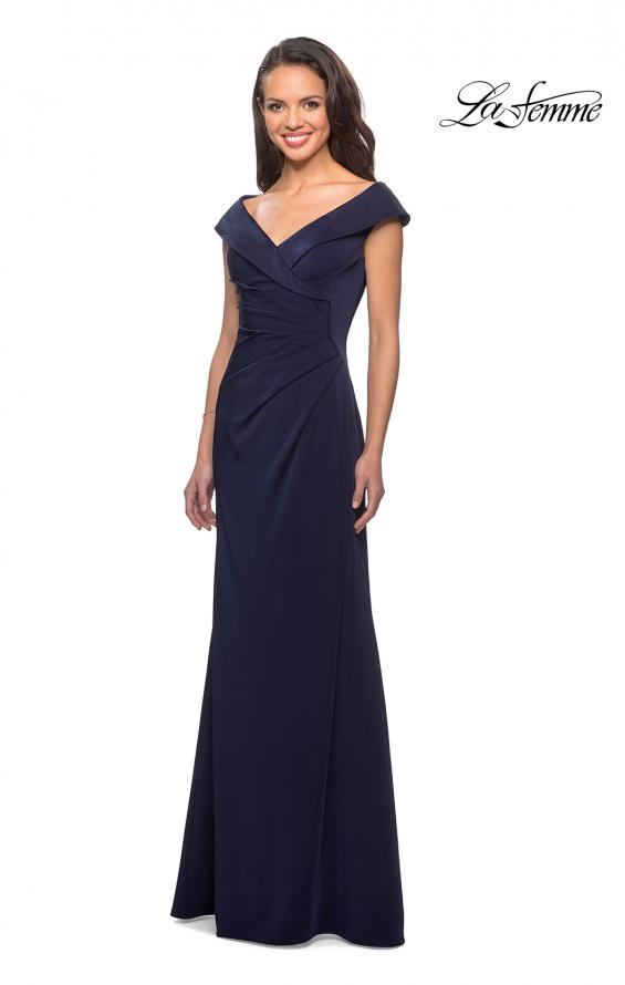 Picture of: Satin Floor Length Gown with Ruched Detailing in Navy, Style: 26523, Detail Picture 1