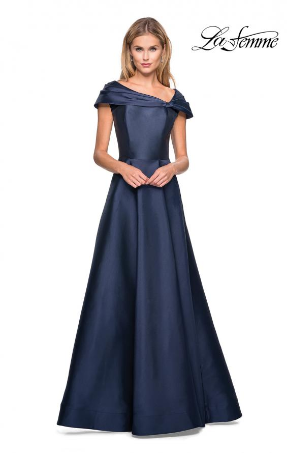 Picture of: Long A-Line Off the Shoulder Gown with Pockets in Navy, Style: 26877, Detail Picture 1