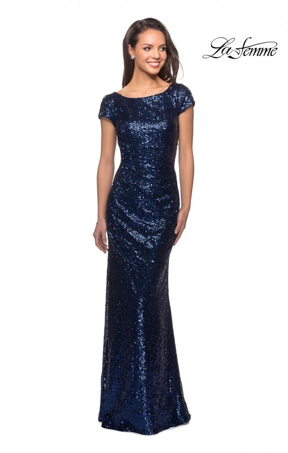 Picture of: Fully Sequined Long Dress with Short Sleeves in Navy, Style: 27079, Detail Picture 1