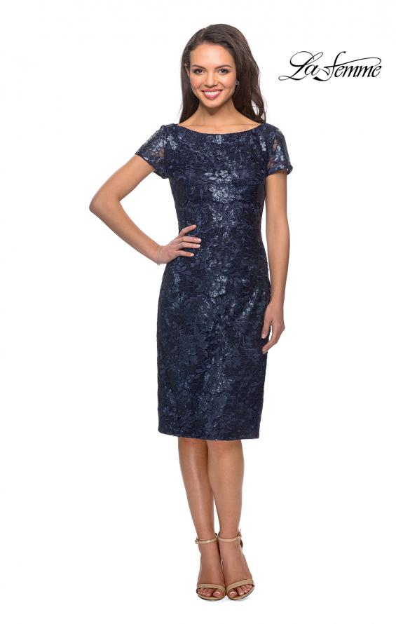 Picture of: Knee Length Lace Dress with Short Sleeves in Navy, Style: 27828, Detail Picture 1