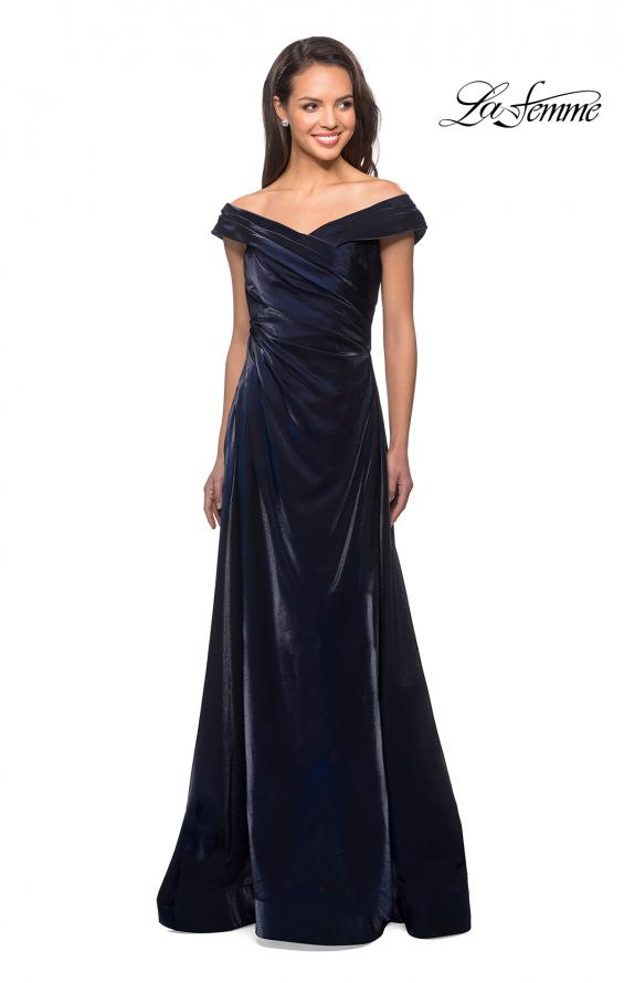 Picture of: Off the Shoulder Satin Gown with Ruching, Style: 27846, Detail Picture 1