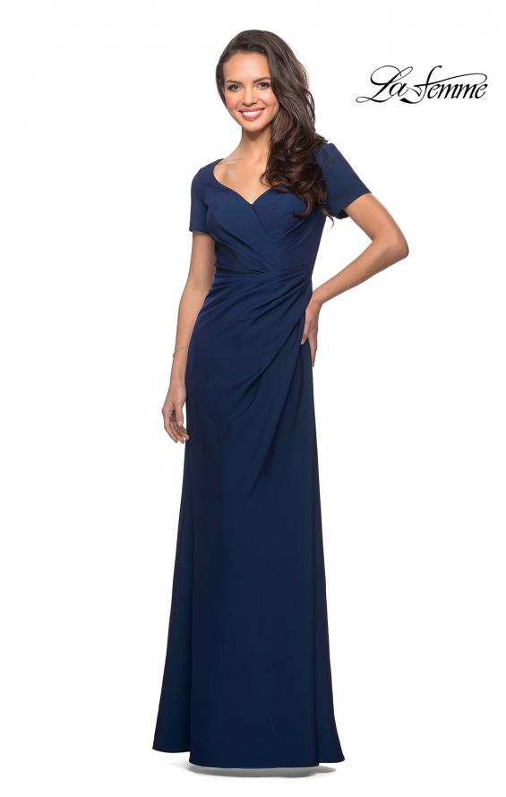 Picture of: Short Sleeve Floor Length Gown with Ruching in Navy, Style: 27855, Detail Picture 1