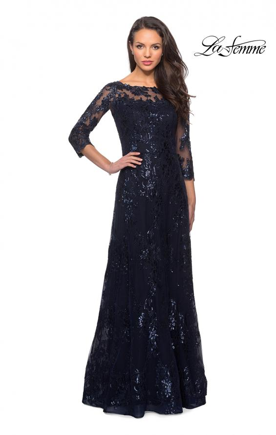 Picture of: Long Lace Dress wuth Sequins and Sheer 3/4 Sleeves, Style: 27885, Detail Picture 1