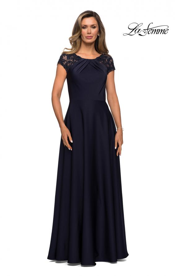 Picture of: Long Satin Dress with Sheer Floral Lace Cap Sleeves in Navy, Style: 28100, Detail Picture 1