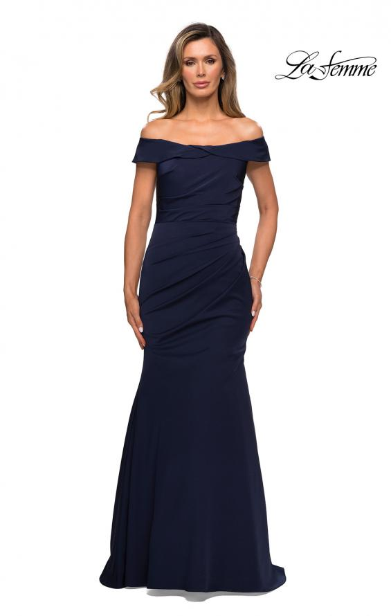 Picture of: Off the Shoulder Satin Evening Gown with Ruching in Navy, Style: 28110, Detail Picture 1