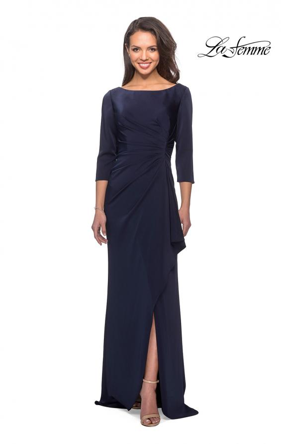 Picture of: Three Quarter Sleeve Jersey Dress with Ruching in Navy, Style: 28197, Detail Picture 1