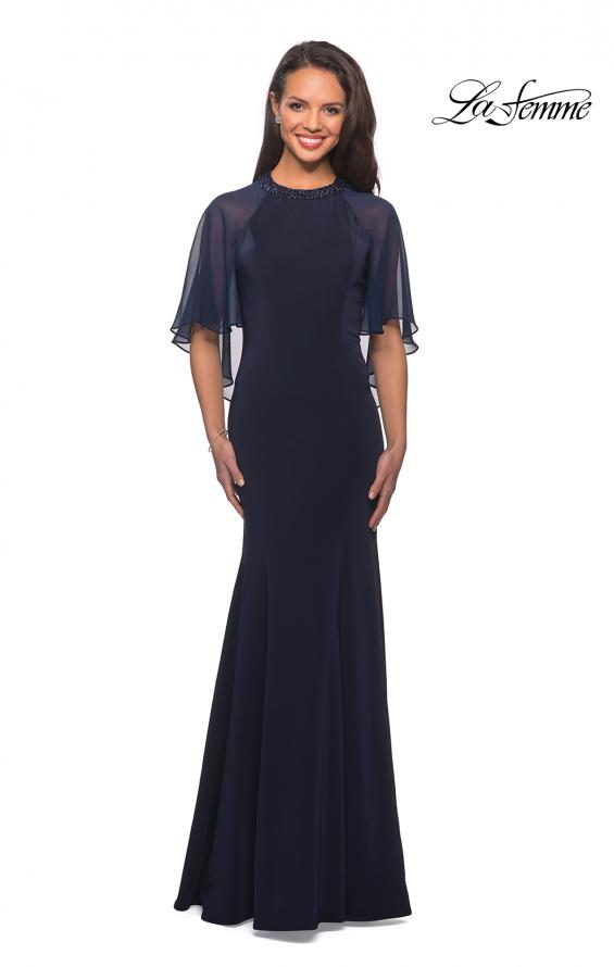 Picture of: Long Gown with sheer sleeves and beaded neckline in Navy, Style: 25006, Detail Picture 2