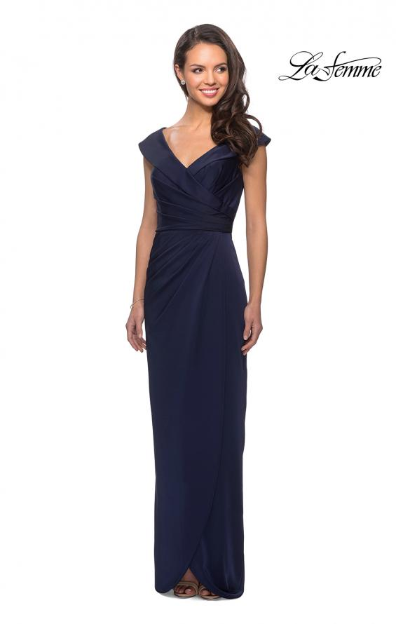 Picture of: Long Jersey Dress with Ruching and Cap Sleeves in Navy, Style: 25206, Detail Picture 2