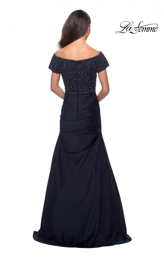 Picture of: Satin Off the Shoulder Dress with Beaded Sleeves in Navy, Style: 25996, Detail Picture 2