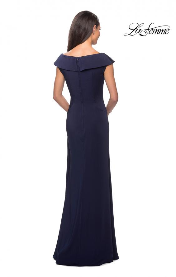Picture of: Satin Floor Length Gown with Ruched Detailing in Navy, Style: 26523, Detail Picture 2