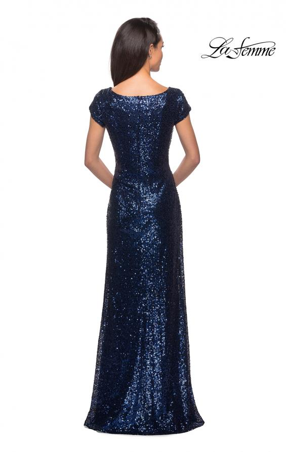 Picture of: Fully Sequined Long Dress with Short Sleeves in Navy, Style: 27079, Detail Picture 2