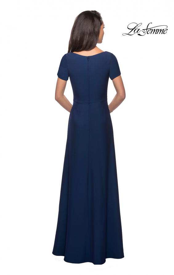 Picture of: Short Sleeve Floor Length Gown with Ruching in Navy, Style: 27855, Detail Picture 2