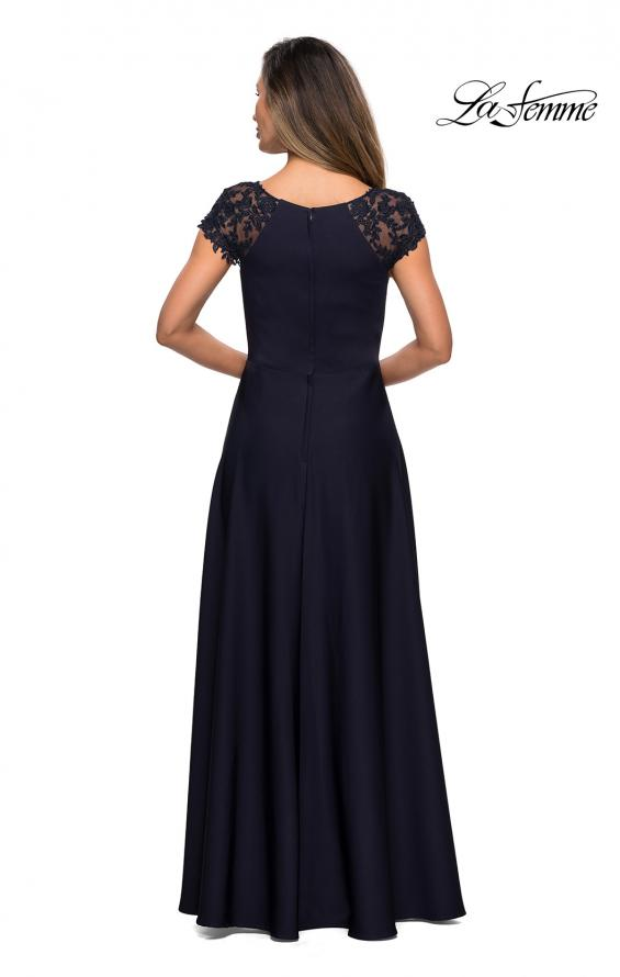 Picture of: Long Satin Dress with Sheer Floral Lace Cap Sleeves in Navy, Style: 28100, Detail Picture 2