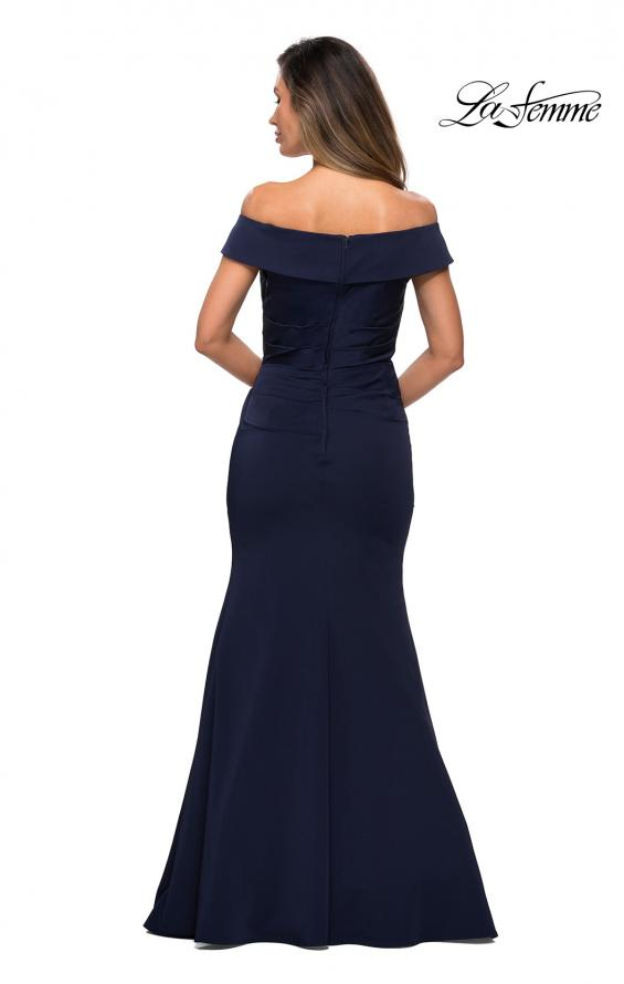Picture of: Off the Shoulder Satin Evening Gown with Ruching in Navy, Style: 28110, Detail Picture 2