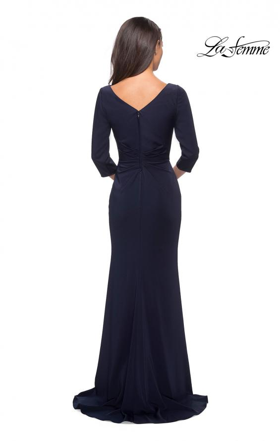Picture of: Three Quarter Sleeve Jersey Dress with Ruching in Navy, Style: 28197, Detail Picture 2