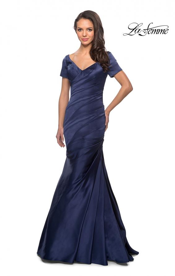 Picture of: Long Satin Gown with Elegant Ruching, Style: 26947, Detail Picture 3