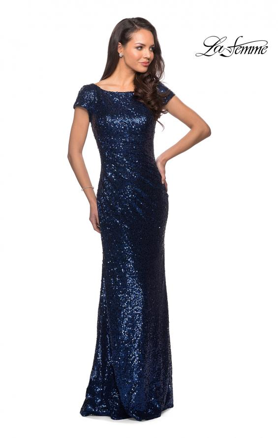 Picture of: Fully Sequined Long Dress with Short Sleeves in Navy, Style: 27079, Detail Picture 3