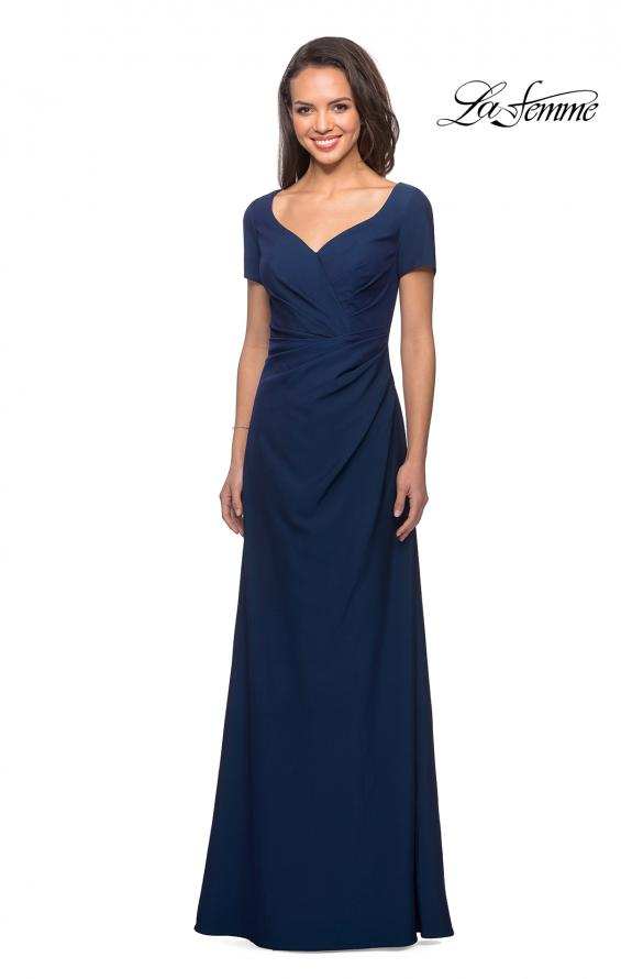 Picture of: Short Sleeve Floor Length Gown with Ruching in Navy, Style: 27855, Detail Picture 3