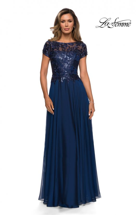 Picture of: Short Sleeve Metallic Lace Evening Dress with Chiffon Skirt in Navy, Style: 27924, Detail Picture 3