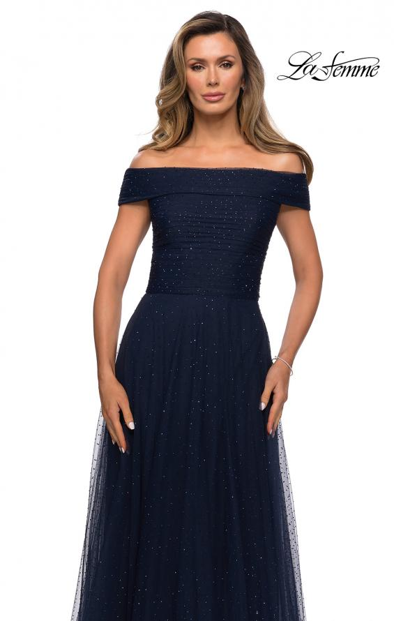 Picture of: Tulle Off the Shoudler A-line Dress with Rhinestones in Navy, Style: 28051, Detail Picture 3