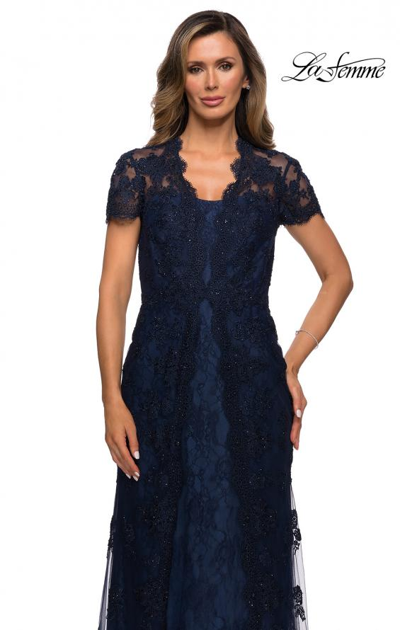 Picture of: Long Lace Evening Dress with Scallop Detailing and Rhinestones in Navy, Style: 28195, Detail Picture 3
