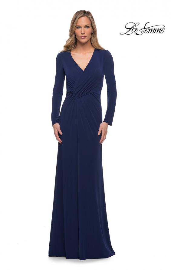 Picture of: Long Sleeve Jersey Dress with Criss-Criss Front Ruching in Navy, Detail Picture 3