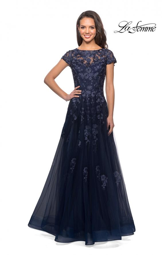Picture of: Long Tulle Gown with Intricate Lace Detailing, Style: 26907, Detail Picture 4